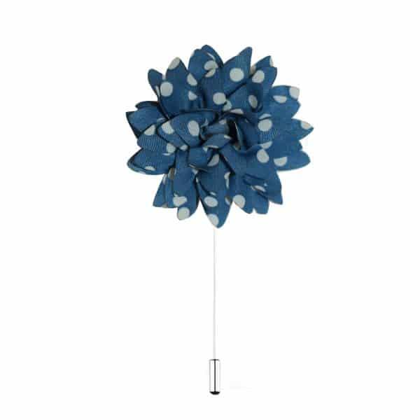 Svetlo-modrá ozdoba do klopy s bodkami