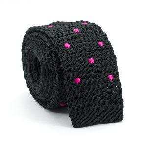Čierna kravata s ružovými bodkami