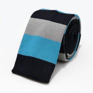 Pletená kravata pánska modrošedá