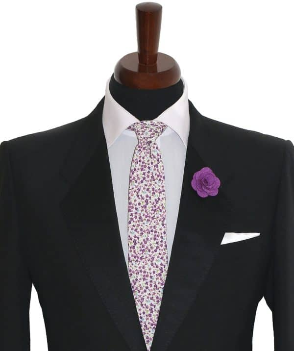 Fialová kravata pánska kvetovaná