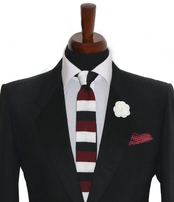 Pletená pánska kravata bordová