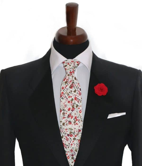 Biela kvetovaná kravata pánska
