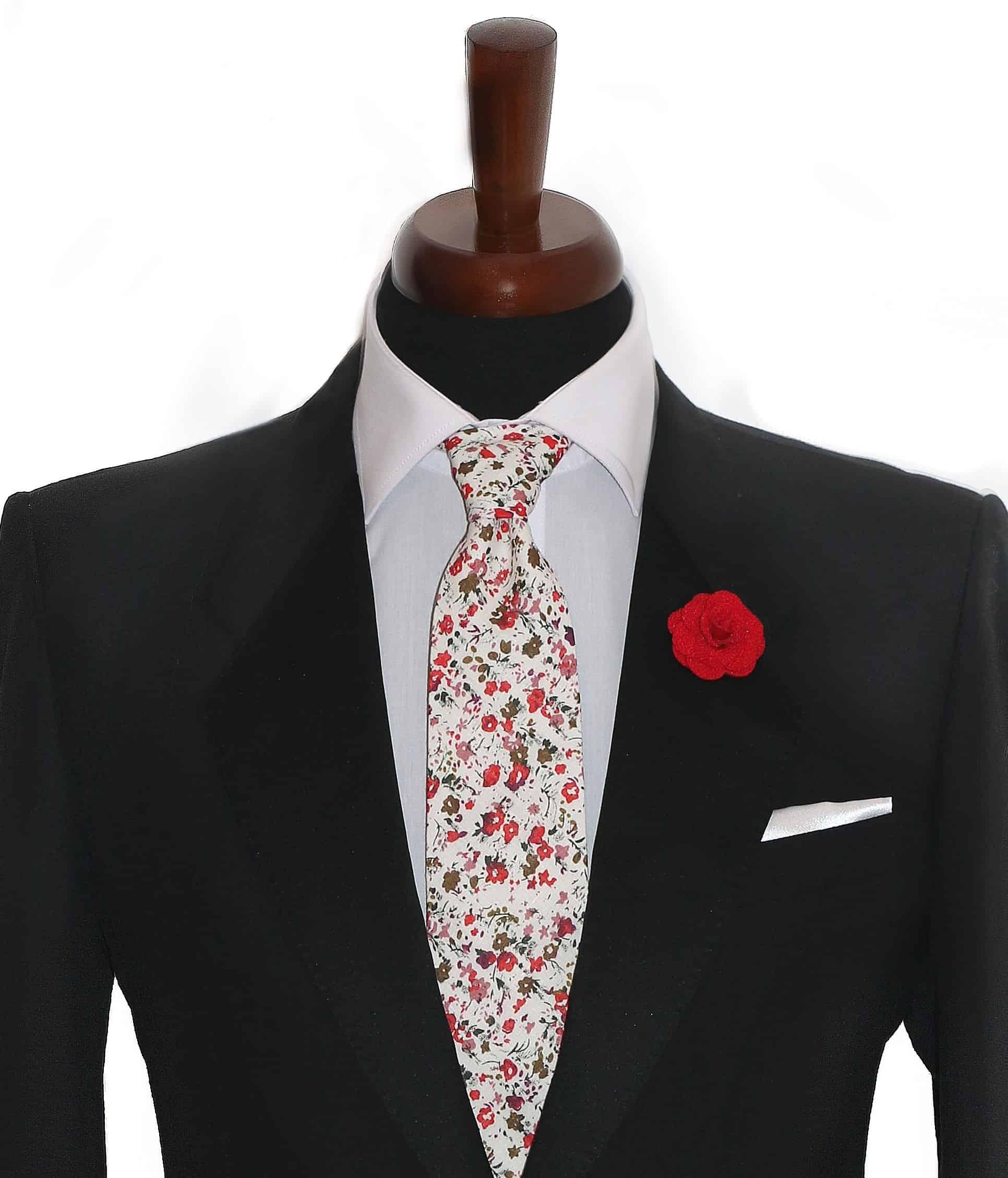 aeecf0e0f6 👔 Biela kvetovaná kravata pánska. Vyber si svoj štýl!