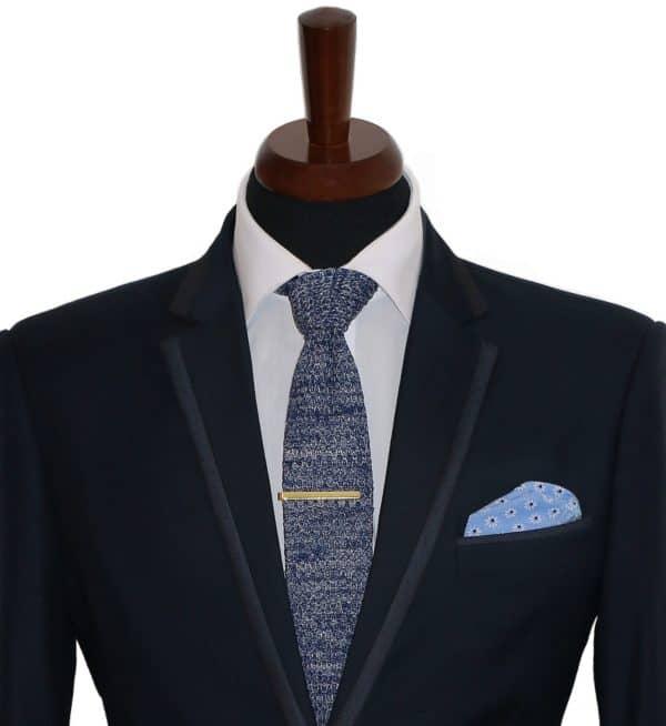Modrá vlnená kravata pánska