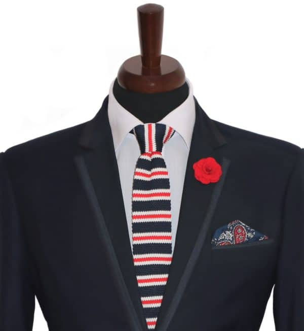 Modrá pletená kravata pánska