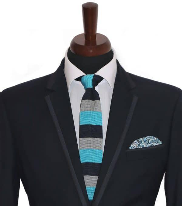 Tricolor Navy Tie Set