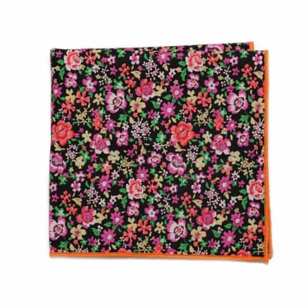 Čierna kvetovaná vreckovka s oranžovým lémom