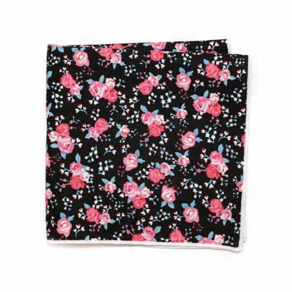 Čierna kvetovaná vreckovka s bielym lémom