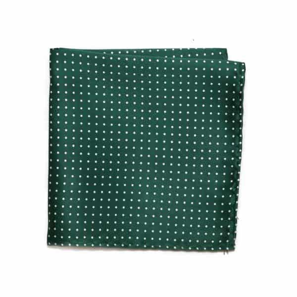 Zelená hodvábna vreckovka s bodkami