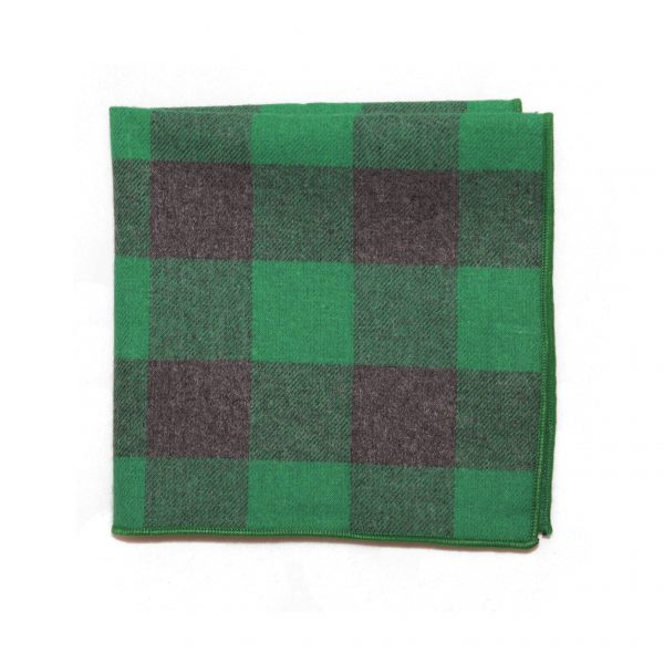 Zelená bavlnená vreckovka károvaná