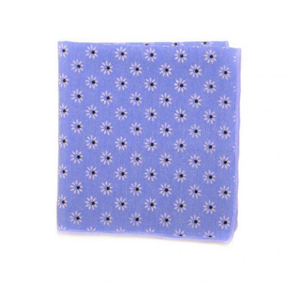 Modrá bavlnená vreckovka s kvetmi
