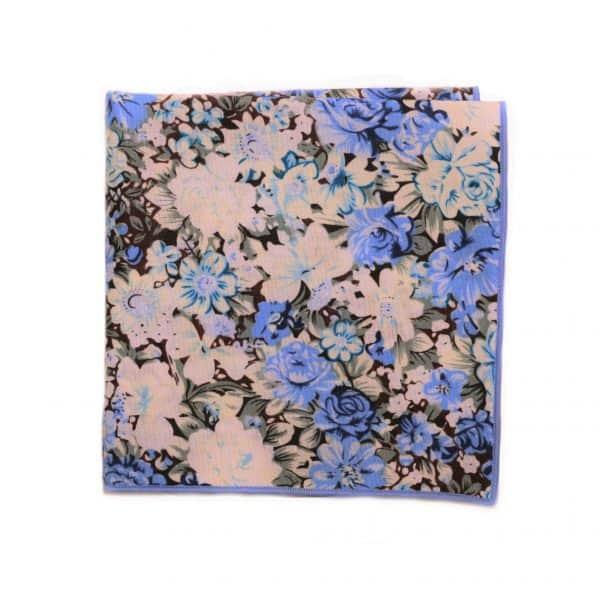 Bielo modrá kvetovaná vreckovka s modrým lémom