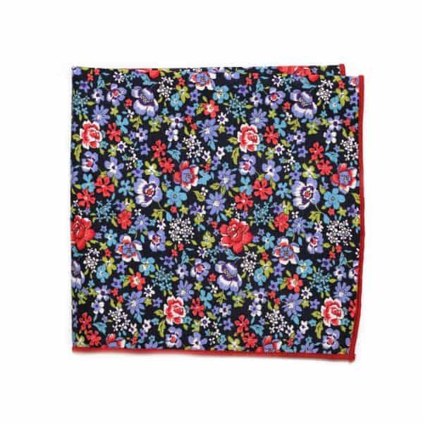 Tmavomodrá kvetovaná vreckovka s červeným lémom