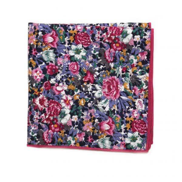 Modrá kvetovaná vreckovka s ružovým lémom