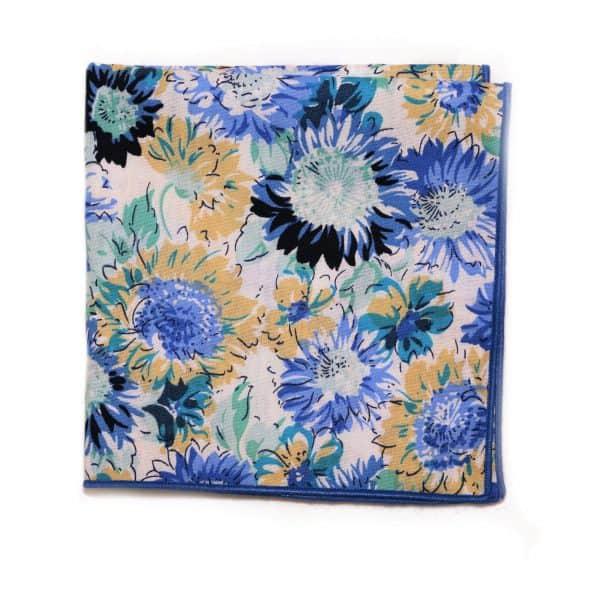 Modro biela kvetovaná vreckovka s modrým lémom