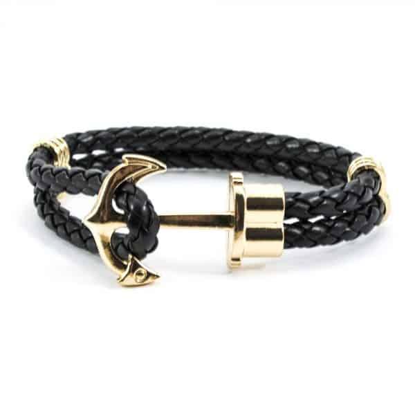 Čierny náramok Anchor Gold
