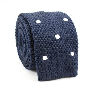 Modrá bodkovaná kravata pletená