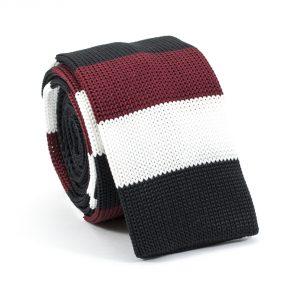 Pletená pánska kravata bordovo čierno biela