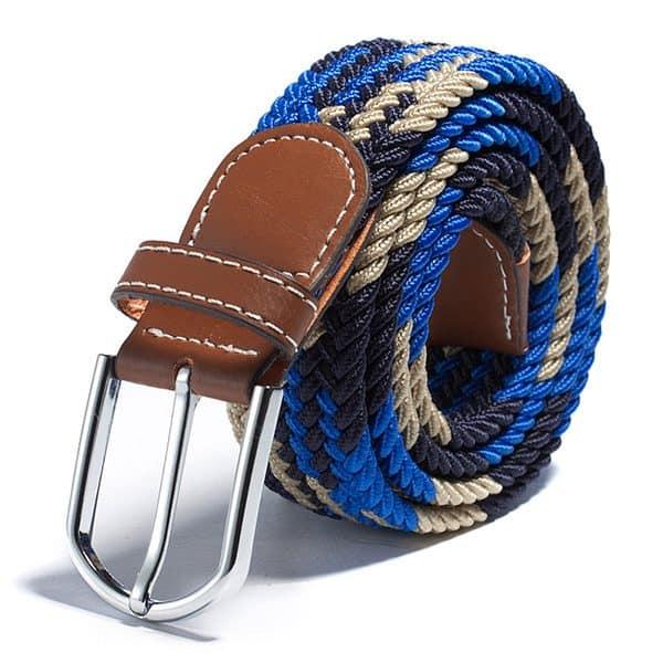 Modrý trikolór elastický opasok vzorovaný