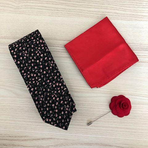 Floral Redblack Tie Set